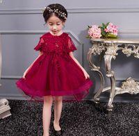 Wholesale floral bow shorts children resale online - Boutique Children Girl Dress Handmade Embroidery High Low Party Perform Dress Girl Princess Dress Children Clothing E1901