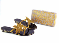 Wholesale blue wedding flip flops - gold color flip flops African Women bag with Slippers Shoes Italian Shoes and bag match set Party Wedding Shoes new arrival