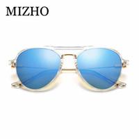 Wholesale sunglasses mujer for sale - Group buy MIZHO Transparent Plastic Frames Pilot Sunglasses Women Mirror Lens High Quality UV400 Real Color Men Korea Eyewear Mujer white