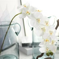 Wholesale orchid phalaenopsis green resale online - 8pcs Artificial Flower Silk Butterfly Orchid Flower Home Wedding Party Decorative Phalaenopsis Artificial Decoration