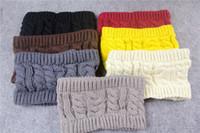 Wholesale ladies winter headbands - Multicolor Women Winter Ear Warmer Crochet Topless Knitting Hats Turban Knitted Head Wrap Hairband Headband Headwear for Girls Ladies