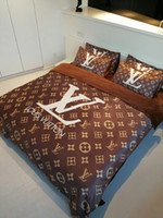 Wholesale brown 3d king online - Brown Full L Letter Bedding Sets New Fleece Fabric Series Winter Bed Cover Pieces Luxury Brand Letter Bedding