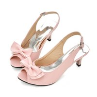 gelbe frühlings-sandalen großhandel-Damenschuhe PU Frühling Sommer Sandalen Blockabsatz Ferse Peep Toe Bowknot für Casual Dress Party Abend Schwarz Gelb Rot Blau