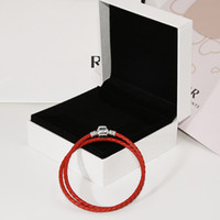 Wholesale leather bracelets for sale - Group buy Luxury Jewelry Sterling Silver Charms Bracelets Double layer Red Leather Rope Hand Chain Bracelet for Women with Original box