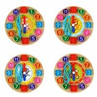 zebra perlen großhandel-Blöcke Holzbaustein Schnürung Perlen Puzzles Niedlichen Zebra Tier Cartoon Lernspielzeug für Kinder Digitale Holzuhr