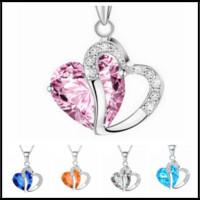 "Wholesale amethyst fashion jewelry - Fashion Heart Crystal Rhinestone Silver Chain Pendants Swarovski Amethyst Jewelry 10 Color Length 17.7"" inch Choker"