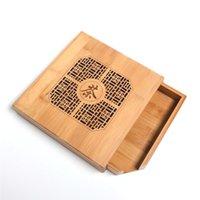 caixa de decoração chinesa venda por atacado-Bambu Retro Pu'er caixa de chá de madeira Caixa De Armazenamento De Madeira Gravada Natural Bandeja De Bambu Acessórios de Chá decoração caixa de presente quadrada organizador