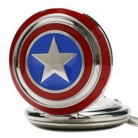 Wholesale american pocket watch - Fashion Hot Sale Style Captain American Star Shield Quartz Pocket Watch Men Women Gifts