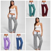 Wholesale yoga pants quarter for sale - Group buy Women Foldover Wide Leg Palazzo Trousers Colors Heather Sports High Waist Loose Yoga Harem Pants Casual Pants LJJO4220