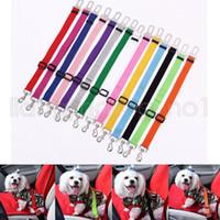 cinturones de seguridad para perros al por mayor-2.5 * 7.4 cm Pet Cat Dog Car Vehículo Asiento de Seguridad Cinturón Arnés de Seguridad Clip de Viaje Clip Suministros de Perro 14 Colores AAA596