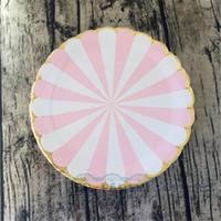 palhas para chá de bebê venda por atacado-80 pcs rosa listra festa de ouro talheres pratos de papel guardanapos canudos para festa de aniversário do chuveiro de bebê nupcial do chuveiro