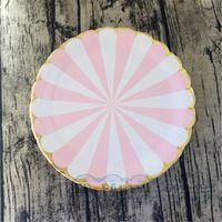 baby-dusche papier strohhalme großhandel-80 stücke Rosa Streifen Gold Party Geschirr Pappteller Servietten Trinkhalme Für Geburtstag Baby Shower Bridal Shower Party