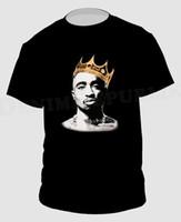 corona negra camiseta al por mayor-KING 2PAC Camiseta negra Hip Hop Rapper PAC Nueva camiseta Tupac Shakur Men's T Crown