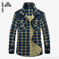 роскошное платье оптовых-Men's Plaid Cotton Casual Shirts Office Long Sleeve Fashion  High Quality Wholesale Male  Army Dress Shirts