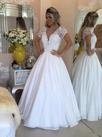 Wholesale dresses from china for sale - Vintage A Line Wedding Dresses from China Lace V Neck Bohemian Boho Wedding Dress With Short Sleeves Sheer Back Beaded Bridal Gowns