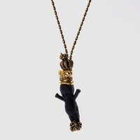 pendentif anges achat en gros de-Collier pendentif chaîne longue bébé ange noir style bébé