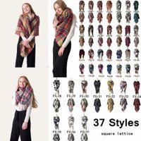Wholesale oversize plaid scarf online - 140 cm Unisex Winter Plaid Scarf Square Scarves Oversize Blanket Wrap Cashmere Scarf Shawl Fashion Plaid Warm Blanket Scarf AAA934