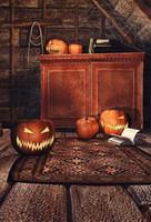 vinylfotografie backdrops halloween großhandel-Halloween-Hintergrund-Kürbis-Spinnen-Netz in den braunen alten Raum-Hintergründen für Foto-Studio-Fotografie-Zusatz-Vinylstoff-Gewohnheit
