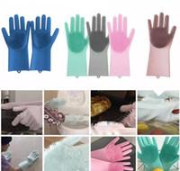 teller m großhandel-Magic Silicone Dish Reinigungshandschuhe Eco-Friendly Scrubber Washing Mehrzweck-Handschuh Kitchen Bed Badezimmer Tool Pet Care Grooming