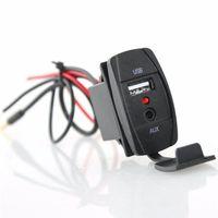 jack dc usb al por mayor-Forma del interruptor DC 12V 2.1A Accesorios de audio para el automóvil Conector de zócalo USB AUX. USB Adaptador de enchufe USB Cable de cable AUX Cable USB