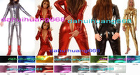 Wholesale sexy green catsuit - Unisex Bodysuit Costumes With Long Zipper New Color Shiny Lycra Metallic Suit Catsuit Costumes Sexy Body Suit No Head Hand Foot DH074