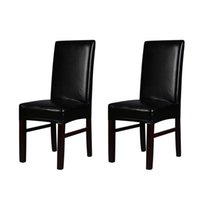 Groovy H19927B Black 2Pcs One Piece Pu Leather Stretchable Dining Chair Back Seat Covers Waterproof Oilproof Dustproof Chair Covers Squirreltailoven Fun Painted Chair Ideas Images Squirreltailovenorg