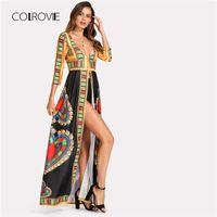 tribal print kleidung großhandel-COLROVIE Geo Print Maxikimono 2018 Neue Mode Multicolor Frühling Tribal Weibliche Kleidung 3/4 Langarm-Kimono