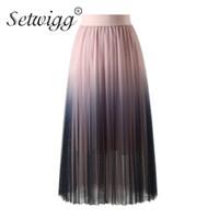 5347592876a SETWIGG Summer Women Gradient Color Tulle A-line Длинный Плиссированные юбки  Эластичная талия Слоистая сетка Конфеты Контраст Цвет юбки