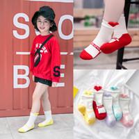 Wholesale Girls Socks Years Old - New Arrived Soft Cotton Children's Socks Kawaii Pattern sweet Girls Socks Warm Kids Socks Cute Love Heart Peach For 3-12 Year old A8226