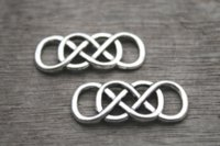 ingrosso doppio fascino infinito-20pcs / lotto doppio charms infinito argento tibetano filo metallico doppio simbolo infinito pendente pendente di fascino per il braccialetto 13x33mm