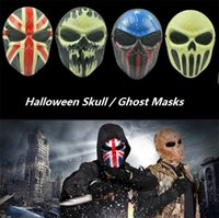 Wholesale zombie face mask resale online - Halloween Masks Zombie Skull Mask Personalized CS Full Face Skeleton WarriorGame Mask Scary Ghost Mask Party masks I310