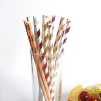 Wholesale Hot Sell Film Gilding Paper Straw Gold Striped Paper Straw Colorful Disposable Kitchen Supplies Cups Straws