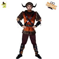 костюм для взрослых оптовых-Викинг Пиратские Костюмы Карнавал Партии Хэллоуин Необычные Платья Взрослых Мужчин Имитация Викинг Воин Костюм Производительность Косплей