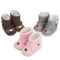 botines de crochet para niños al por mayor-Newborn Toddler Girl Boy Crochet Knit Faux Fleece Calzado Snow Crib Shoes Bota de invierno Warm Wool Prewalker Botines