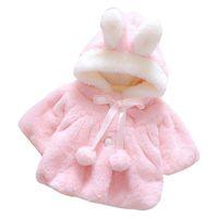 ingrosso bambina neonato coreana-Infant Girls Winter Cute Cloak Coat Arco in stile coreano Baby bambini spessi vestiti caldi Newborn Fur Ball Hat Hooded Jacket