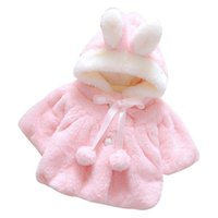 корейская шляпа девочка оптовых-Infant Girls Winter Cute Cloak Coat Korean Style Bow Baby Kids Thick Warm Clothes Newborn Fur Ball Hat Hooded Jacket