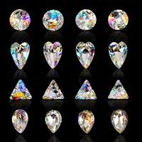 diamantes em forma de coração venda por atacado-Loja de unhas Terapia de Luz Um Luxo Sete Sinfonia Colorida Diamante Ponto de Diamante Coração Em Forma de Noiva AB Rhinestone