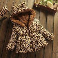 jaqueta de leopardo menina venda por atacado-Inverno meninas novas roupas de algodão 1-2 Ano bebê idoso Snowsuit Wear Boy espessamento Crianças Leopard além de veludo revestimento morno