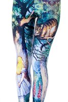 Wholesale alice clothing for sale - Leggings High Elastic Female Workout Leggings Alice Cheshire Cat D Digital Printed Tights Slim Fitness Pants Women Clothing