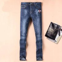 Wholesale Bees Lighting - Small Bee embroidery mens skinny jeans Italy luxury brand designer cotton cowboy embroidery bee mens pants jeans skinny hommeD30