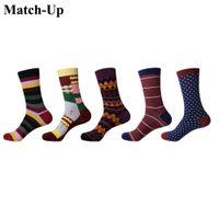 ingrosso calzini marroni per gli uomini-Match-Up Calze da uomo in cotone colore Calze da uomo modello calze da uomo per abito da lavoro casual lunghe