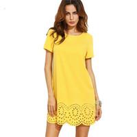 vestido de manga curta venda por atacado-Verão Chiffon Amarelo Vestido Mulheres Manga Curta Oco Out Hem Shift Vestido Elegante Ladies Party Mini Vestidos Vestidos
