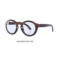 ingrosso lente antica-Occhiale da vista con montatura vintage in legno di ebano tondo vintage con apertura a taglio laterale per cambio lenti