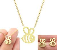 ingrosso piccoli orecchini d'oro-Moda hollow piccola ape ciondolo orecchini bracciale collana set di gioielli in argento placcato oro donna ragazza collane regalo di san valentino