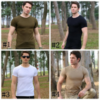 Wholesale training outdoor shirts for sale - Outdoor clothing men summer military uniform short sleeve special t shirt camping physical training clothing tactics tight wear DDA556