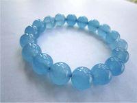 brasilianer armbänder großhandel-Natürliche brasilianische Aquamarin Armband Iced Run Blue Crystal Aquamarin einzigen Kreis Armband Paar Modeschmuck