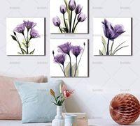 leinwand lila blume wand kunst großhandel-BANMU Wandkunst Bild Leinwand malerei drucken Elegante Tulpe Lila Blume Leinwanddruck Wandkunst Malerei Für Wohnzimmer kein rahmen