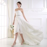 Wholesale white fitted short wedding dresses resale online - Real picture Modest High Low Country Style beach Wedding Dresses Sweetheart Ruffles Organza Fitted Hi lo White short Bride Bridal Gowns