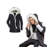 с капюшоном зимние мальчики шерсть оптовых-Мужчины зимнее пальто меха с капюшоном куртка модный мальчик толстые пиджаки теплый мужской парки открытый длинные куртки прохладный мужская зимняя одежда
