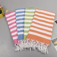 bufandas de sol al por mayor-Toalla de baño de borla turca para el verano al aire libre Toallas de playa de sombreado de Sun suave bufanda de algodón puro portátil 22 5sp BB